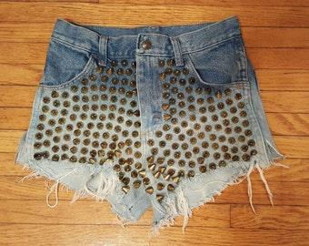 GOLD STUDDED SHORTS // High Waisted Rustler Vintage Denim Cut Off Shorts Frayed Coachella Fashion Blue Size Small