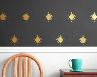 Gold vinyl wall decal pattern - Diamond - Living room wallpaper - Wall Decals - Diamond pattern - Wall Stickers - Vinyl wallpaper design