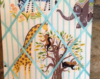 Baby Safari 11x14 fabric covered french memo board