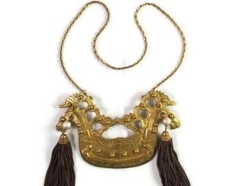 Vintage Richelieu Ornate Double Horse Pendant with Brown Tassels Necklace