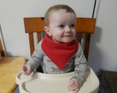 Bandana Baby Bib RED Drool catcher Cotton solid/Flannel solid Machine Washable Snap Reversible Handmade USA New baby Teething Toddler Gift
