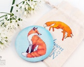 Red Fox Fabric Pocket Mirror, Cosmetic Mirror, Makeup Mirror, Gifts for Women, Fabric Covered Mirror