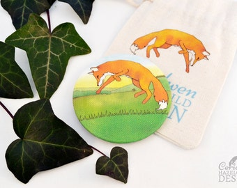 Fox Leaping Fabric Pocket Mirror, Cosmetic Mirror, Makeup Mirror, Gifts for Women, Fabric Covered Mirror