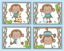 MONKEY NURSERY ART Prints Baby Boy Safari Jungle Animal Wall Decor Kids Jungle Room Childrens Hanging Swinging Monkey Bedroom Bathroom