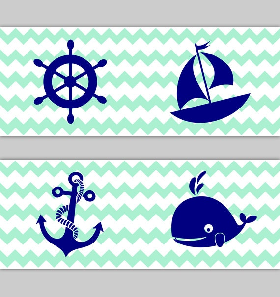 NAUTICAL NURSERY DECOR Chevron Wallpaper Border Navy Blue Mint