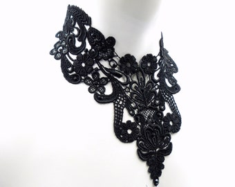 Black Bib Lace Necklace with Jet Swarovski Rhinestones - Statement Romantic Victorian Gothic Goth Chocker Jewelry for Women