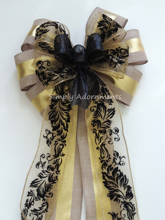 Black Gold Burlap Bow Rustic Black Swirl Velvet Burlap Gold Wreath Bow Black gold Mardi Gras Christmas Bow Black Gold Wedding Pew Bow
