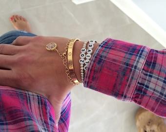 Beaded silver name tag bracelet