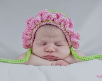 Newborn Delicate Flower Crochet Bonnet - Made To Order