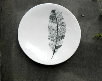 Feather Porcelain Ring Dish Black White Ceramic Plate Jewelry Dish Home Decor