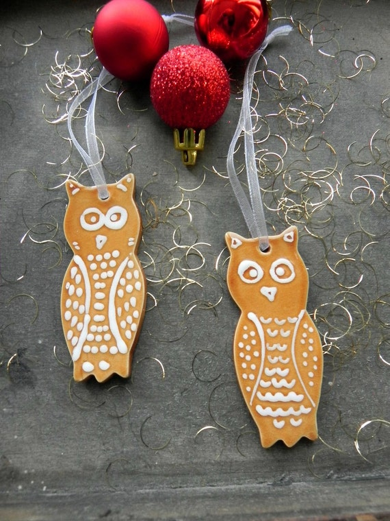 Owl Ceramic Christmas Woodland Ornaments Caramel Bird Pottery White Dots Set of 2