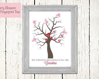 Cherry Blossom Fingerprint Tree- 8x10-CUSTOMIZED birdies- PERSONALIZED