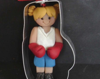 Girl Boxer Gloves Boots Shorts Christmas Ornament Metal Cookie Cutter Polymer Clay Milestone Cake Topper Boxing Ring Winner Cancer Survivor