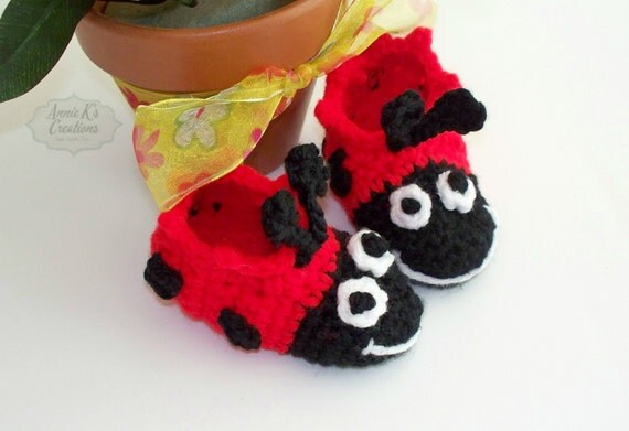 Ladybug Baby Slippers - Baby Booties, Unique Photo Shoes