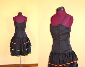 1980s Vintage Nadine Black and Neon Stripe Ruffled Party Dress size 7 (XS S) bust 32