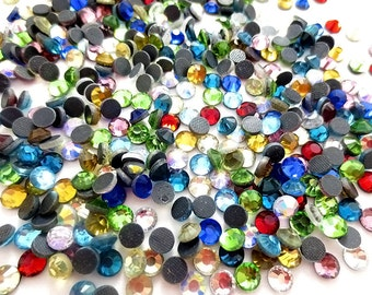 Mixed Colors 20ss Hot-Fix Glass Crystals, ss20 Rainbow Mixed Colors Hot Fix Rhinestones, 5mm Heat Fix Crystal Mix, 10 Gross (1440 Count)