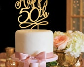 50th Anniversary Cake Topper - 50th Birthday Cake Topper - Happy 50th Cake Topper - Gold Cake Topper