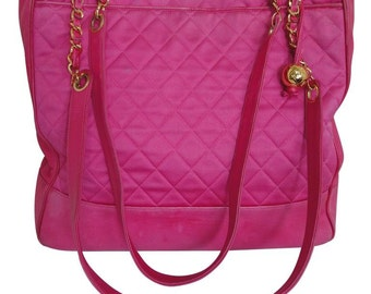 Vintage CHANEL bright pink chain shoulder tote bag with quilted satin and calfskin combo. Gold tone CC ball charm. Hot, think spring