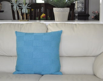 Turquoise Pillow Cover 20 x 20 Pillow Case with Checkered Pattern