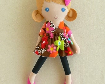 Fabric Doll Rag Doll Honey Blond Haired Girl in Brightly Colored Floral Print Dress