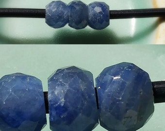 3 - Large Hole - Medium Blue Sapphire - Faceted Rondelle Beads, 2mm Big Drill Hole Precious Gemstone Beads, 5.5mm to 6mm Loose Beads