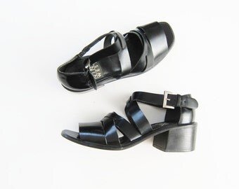 90s Chunky Cage Sandals / Black Leather Strappy Gladiator Heels / Nine West 6.5