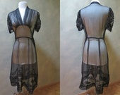 Black Mesh 1930's - 40's Dress with Soutache Detail, Gathering at Shoulders