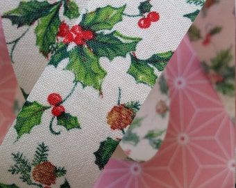 2 Yds Adorable Vintage Christmas Holly Berries Ribbon