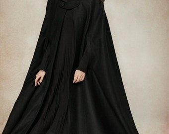 Flare Wool Coat Jacket, Black Hooded Cloak, Winter Cape, Black Cape, Black Cloak, Maxi Coat, Long Wool Coat, Hooded Wool Coat