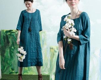 Linen Tunic Dress In Diamond Blue, Pleated Shirt Dress, Linen Dress, Linen Shift Dress, Linen Kaftan, Blue Dress, Long Sleeve Dress, Plus