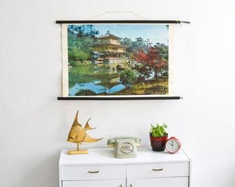 Japan print, Japan poster, Kyoto Souvenir, pull down chart, educational chart, rustic poster