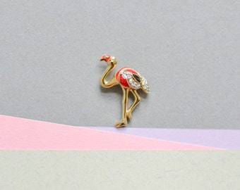 Vintage mini flamingo miniature brooch pin quirky fashion costume jewelry women animal 90s gift statement dead stock
