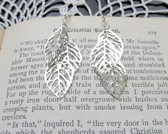Silver Leaf Cluster Earrings - Sterling or Plated Bohemian Silver Fall Earrings