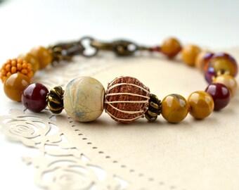 Mookaite Jasper Bracelet, Stone Bracelet, Boho Bracelet, Ethnic Bracelet, Artisan Jewelry, Yellow Beaded Bracelet, Fall, Earthy Jewelry