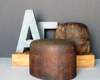 Vintage wooden hat form, wooden head block, milliners form