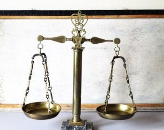 Vintage brass balance scale, decorative display scale.