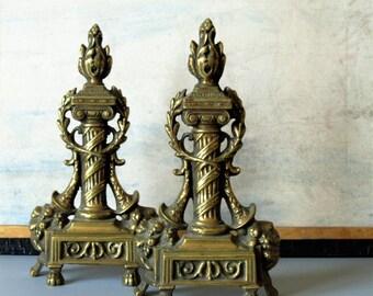 Vintage brass andirons, brass ornaments, bookends, Greek columns, classic decor
