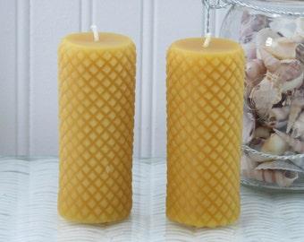 """Beeswax 4"""" Diamond Pillar Candle Set"""