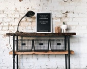 Rustic Industrial Reclaimed Wood Console Table / Media Cart / Bar Cart