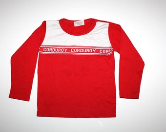 Vintage Boys CORDUROY Healthtex Red Shirt (Size 6X)