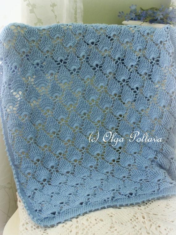 Crochet Baby Blanket Lace Pattern : Blue Lace Baby Blanket Crochet Pattern Summer Newborn Afghan