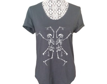 Womens Vintage Dancing SKELETON Print Graphic Cotton Tee Boho Short Sleeve Slouchy T shirt Top Halloween Retro Made in USA 100% Cotton