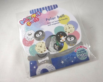 Kawaii Japan Sticker Flake Assort: Peaceful Seals POLAR BALL Arctic Antarctic Animals Gumball Machine Roly Poly Chubby Winter Snowy Cold R