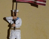 Set of Two WWII Lead Sailor Figures - One Shore Patrol and One Flag Bearer - Circa 1950s