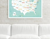 USA Map Print, Blue, Map Decor, Travel Decor, Wall Art for Kids, Travel Nursery Decor, Kids USA Map, Travel Art, Wedding Gift, Map Wall Art
