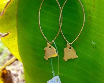 Big Island Charm Dangle Earrings, Marquise 14K Gold Filled, Hawaii Earrings, hammered, Hawaii island, Hawaii state, big island shape earring