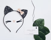 Baby / Girls Cat Ears Headband, Glitter Cat Ears Headband, Halloween Cat Ears, Baby/Girls Black Cat Ears Headband charliecocos