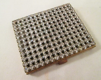 Vintage Rhinestone Compact  Mirror Compact Schildkraut 1950's Gold Compact Powder Compact Ladies Purse Accessory Collectible