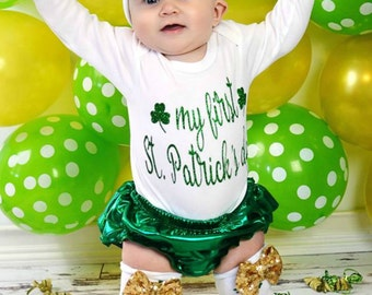 My first St Patrick's Day Bodysuit- My 1st St. Patrick's outfit- First St. Patty day bodysuit 1st St Patrick's  outfit