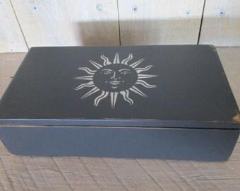 Handmade Small Box - Primitive Sun, Eye Glasses Case, Checkbook Case